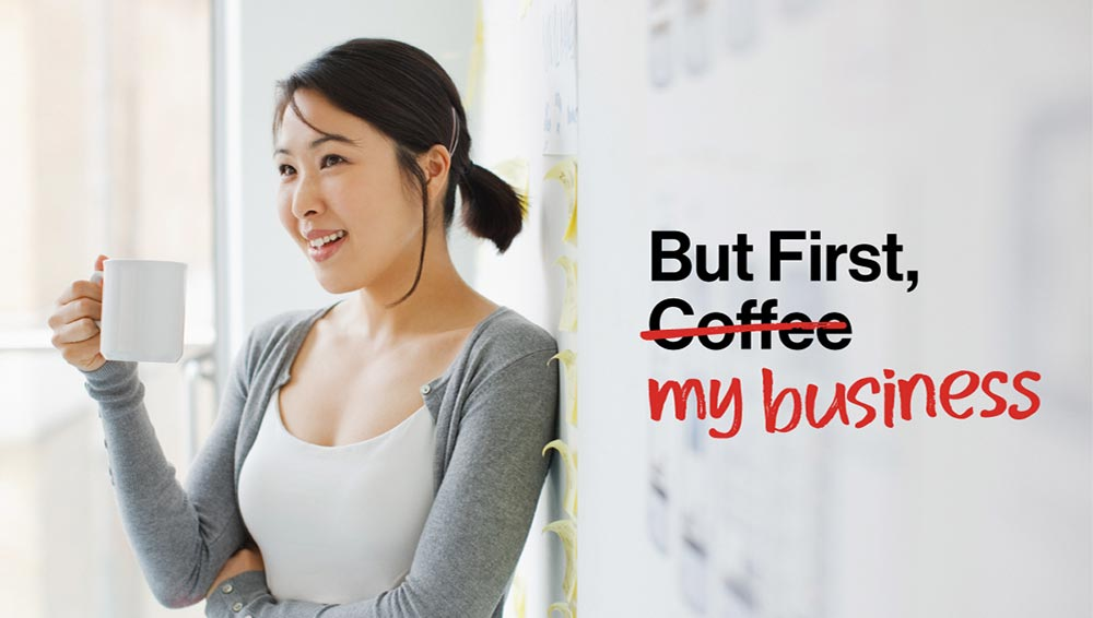 But First, My Business. Woman drinking coffee.